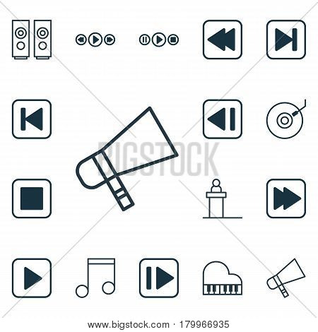Set Of 16 Audio Icons. Includes Start Song, Note, Bullhorn And Other Symbols. Beautiful Design Elements.