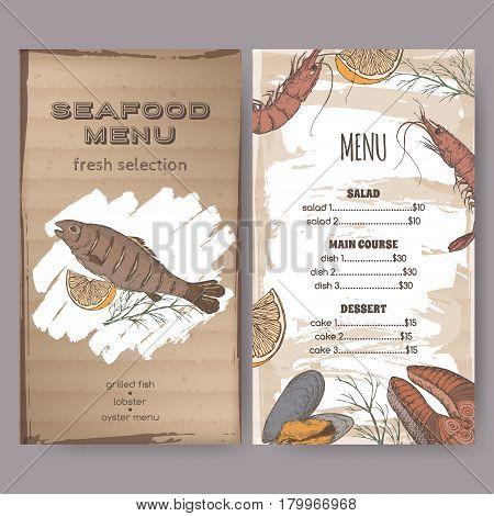 Color vintage seafood restaurant menu template with hand drawn sketch of grilled fish, fish steak, shrimp and mytilus. Placed on cardboard background