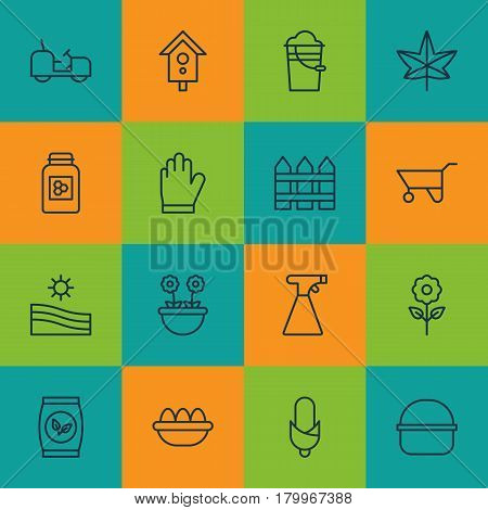 Set Of 16 Farm Icons. Includes Maize, Meadow, Bucket And Other Symbols. Beautiful Design Elements.