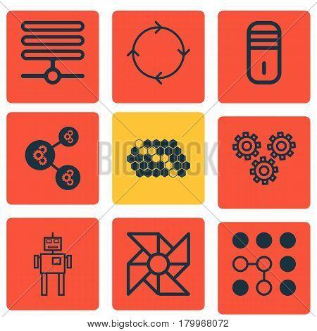 Set Of 9 Robotics Icons. Includes Computing Problems, Algorithm Illustration, Information Base And Other Symbols. Beautiful Design Elements.