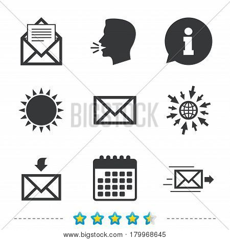 Mail envelope icons. Message document delivery symbol. Post office letter signs. Inbox and outbox message icons. Information, go to web and calendar icons. Sun and loud speak symbol. Vector