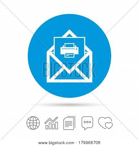 Mail print icon. Envelope symbol. Message sign. Mail navigation button. Copy files, chat speech bubble and chart web icons. Vector