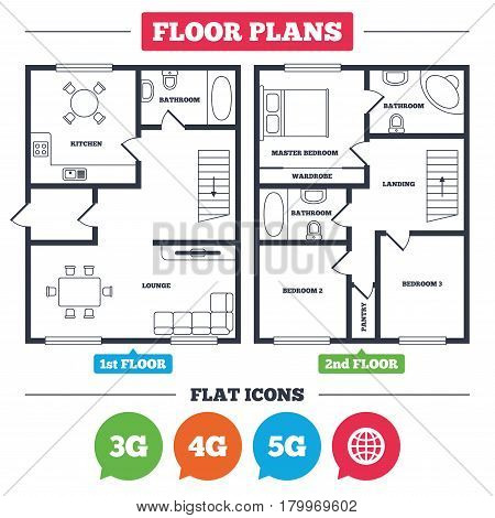 Architecture plan with furniture. House floor plan. Mobile telecommunications icons. 3G, 4G and 5G technology symbols. World globe sign. Kitchen, lounge and bathroom. Vector