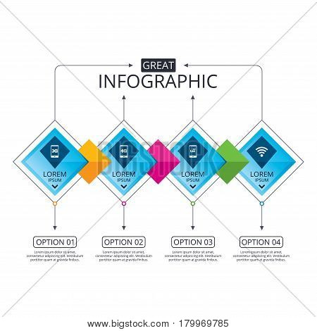 Infographic flowchart template. Business diagram with options. Mobile telecommunications icons. 3G, 4G and LTE technology symbols. Wi-fi Wireless and Long-Term evolution signs. Timeline steps. Vector