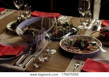 Delicious Meals At Wedding Reception Table Close-up, Vegetable Plate At Banquet Near Meat Dishes And