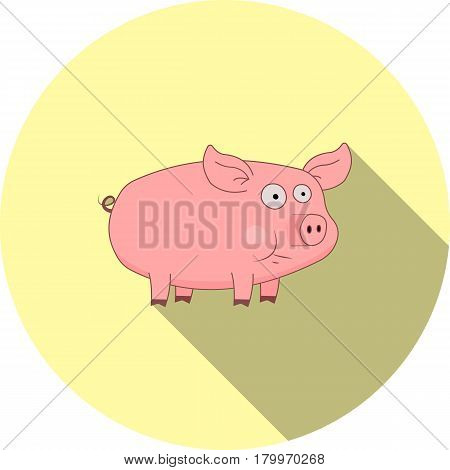Vector image of a cartoon pig on a round basis