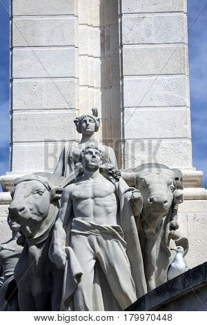 Monument To The Constitution Of 1812, Decorative Detail Made In Stone, Cadiz, Andalusia, Spain