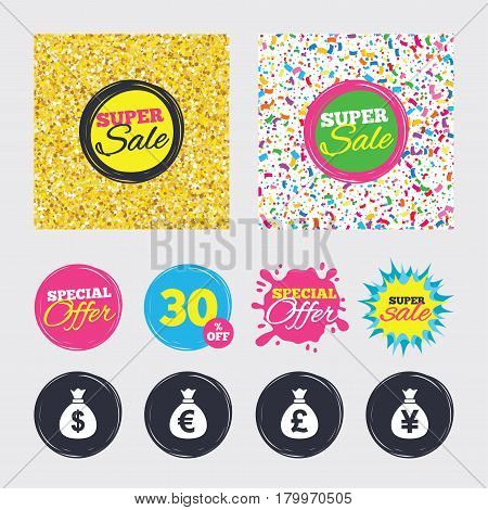 Gold glitter and confetti backgrounds. Covers, posters and flyers design. Money bag icons. Dollar, Euro, Pound and Yen symbols. USD, EUR, GBP and JPY currency signs. Sale banners. Special offer splash