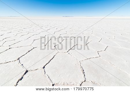 Wide Angle View Of The World Famous Uyuni Salt Flat, Among The Most Important Travel Destination In