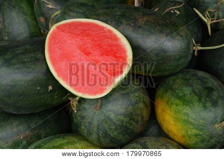 Watery juicy delicacy - a water-melon with red sweet pulp