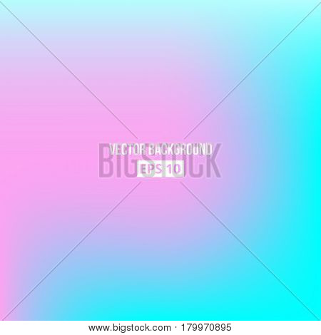 Blue, cyan, pink blur gradient. Vector eps10 Holographic background
