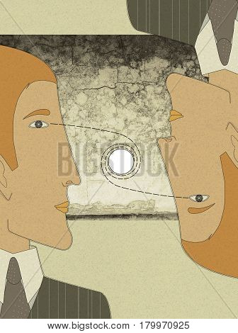 Two young men in suits and ties looking at one point. Office workers. Routine. Hypnosis. Conversation. Negotiation. Against the background of a gloomy landscape
