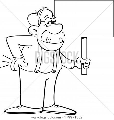 Black and white illustration of an old man holding a sign.