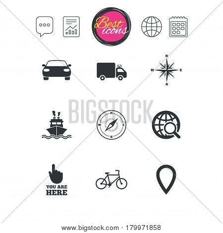 Chat speech bubble, report and calendar signs. Navigation, gps icons. Windrose, compass and map pointer signs. Bicycle, ship and car symbols. Classic simple flat web icons. Vector