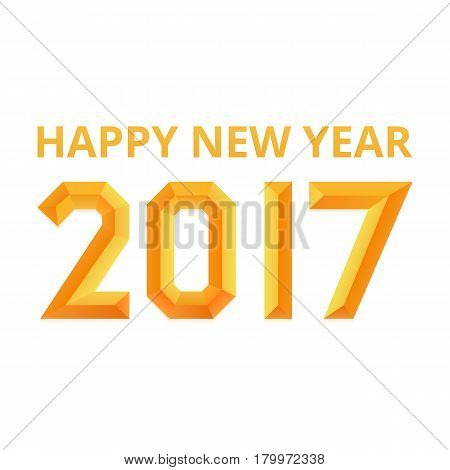 Happy new year 2017 poster. Golden embossed font. Isolated, vector eps 10