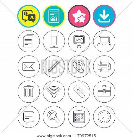 Report, download and star signs. Office equipment icons. Computer, printer and smartphone. Wi-fi, chat speech bubble and copy documents. Presentation board, paperclip with pencil and magnifying glass