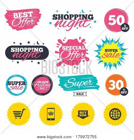 Sale shopping banners. Special offer splash. Online shopping icons. Smartphone, shopping cart, buy now arrow and internet signs. WWW globe symbol. Web badges and stickers. Best offer. Vector