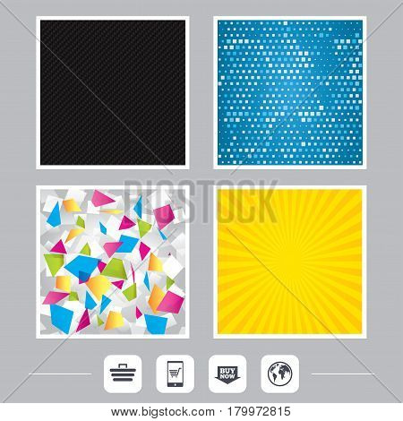 Carbon fiber texture. Yellow flare and abstract backgrounds. Online shopping icons. Smartphone, shopping cart, buy now arrow and internet signs. WWW globe symbol. Flat design web icons. Vector
