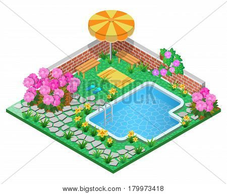 Ornamental garden with swimming pool, rhododendron ,parasol, wall, towel and pavement. 3D isometric view. Vector illustration.
