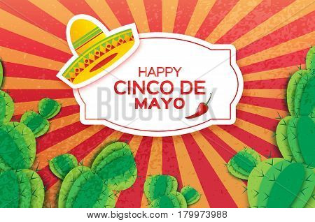Happy Cinco de Mayo Greeting card. Origami Mexican sombrero hat, succulents and red chili pepper jalapeno. Mexico, Carnival. Orange background with paper cut cactus. Rectangle frame. Vector