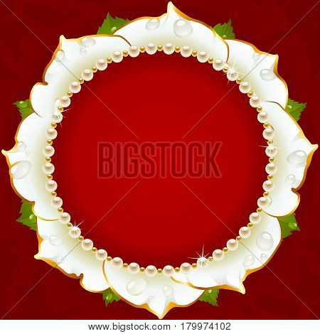 White Floral Circle Frame. Flower of Rose and Pearl Border Isolated on Red Background. Round Valentines Day Card, Wedding Invitation or Romantic Lovely Design. Vector Illustration