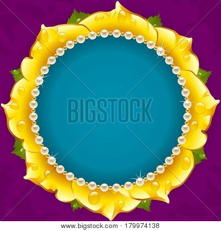 Yellow Floral Circle Frame. Flower of Rose and Pearl Border Isolated on Background. Round Valentines Day Card, Wedding Invitation or Romantic Lovely Design. Vector Illustration