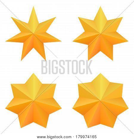 Set of four golden seven point stars. Vector, eps10.