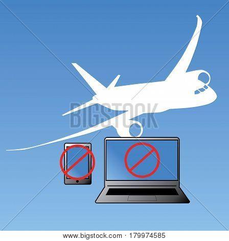 Vector Inbound Flights Laptop and Smartphone ban