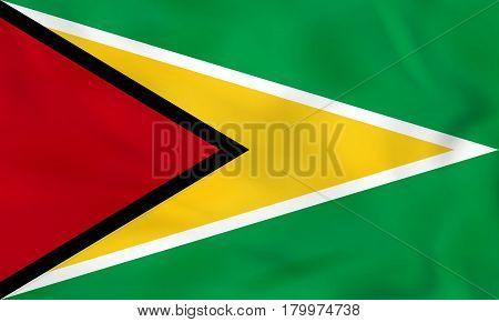 Guyana Waving Flag. Guyana National Flag Background Texture.