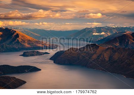 Sunrise Landscape View Of Lake And Mountains From Roy's Peak, Nz