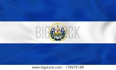 El Salvador Waving Flag. El Salvador National Flag Background Texture.