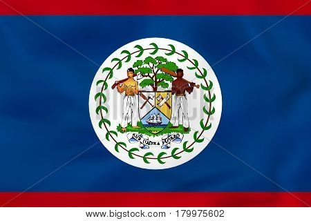 Belize Waving Flag. Belize National Flag Background Texture.
