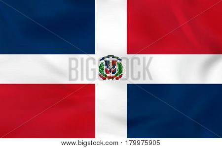 Dominican Republic Waving Flag. Dominican Republic National Flag Background Texture.