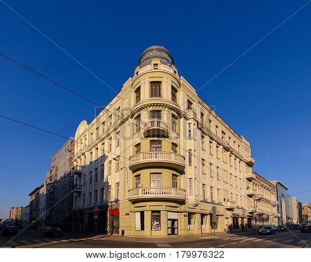 Architecture in central part of Lodz Poland. Europe.