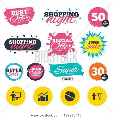 Sale shopping banners. Special offer splash. Diagram graph Pie chart icon. Presentation billboard symbol. Man standing with pointer sign. Web badges and stickers. Best offer. Vector