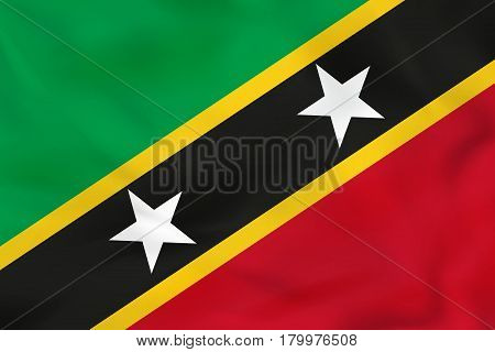 Saint Kitts And Nevis Waving Flag. Saint Kitts And Nevis National Flag Background Texture.