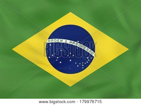 Brazil Waving Flag. Brazil National Flag Background Texture.