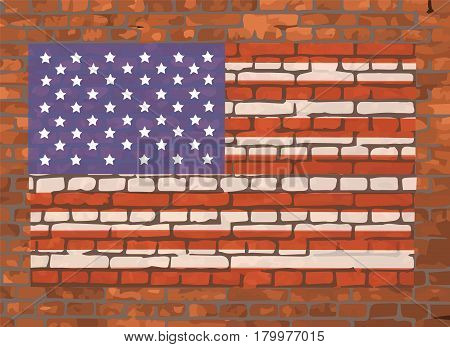 Stars and Stripes USA Flag On A Brick Background