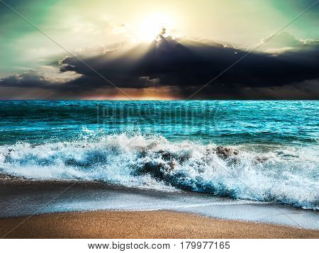 Sea storm landscape nature with sunbeam ray cloud storm and sky