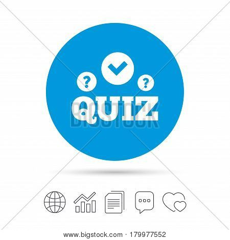 Quiz with check and question marks sign icon. Questions and answers game symbol. Copy files, chat speech bubble and chart web icons. Vector