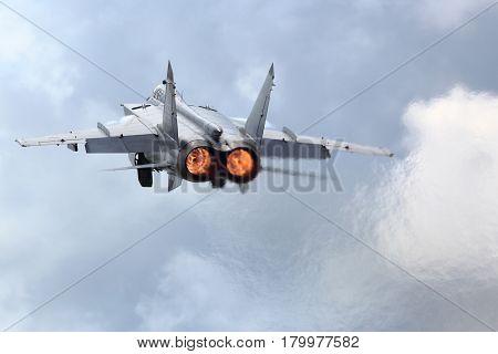KUBINKA, MOSCOW REGION, RUSSIA - JUNE 22, 2015: Mikoyan Gurevich MiG-31BM RF-92379 jet fighter takes off at Kubinka air force base,