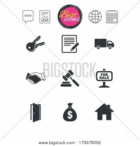 Chat speech bubble, report and calendar signs. Real estate, auction icons. Handshake, for sale and money bag signs. Keys, delivery truck and door symbols. Classic simple flat web icons. Vector