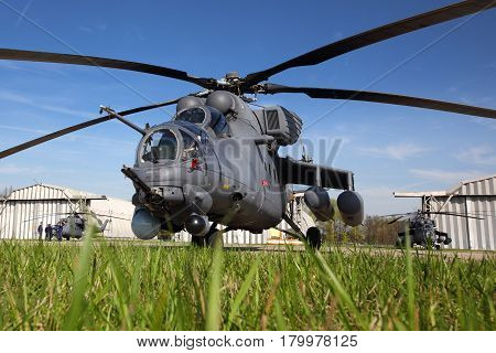 KUBINKA, MOSCOW REGION, RUSSIA - MAY 9, 2015: Mi-35 attack helicopter pictured at Kubinka air force base.