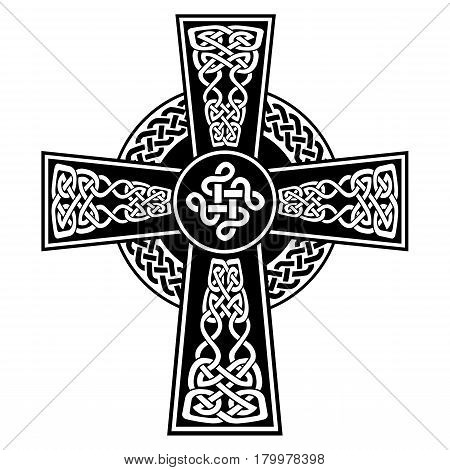 Celtic style Cross with  endless knots patterns in white and black with stroke elements and surrounding black ring with knot element  inspired by Irish St Patrick's Day, and Irish and Scottish carving art