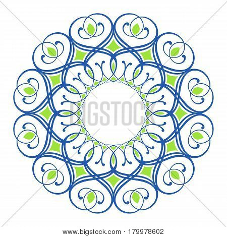 blue and green round symmetry pattern, mandala, rosette