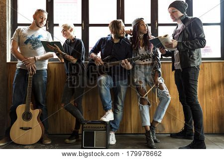 Music Band Rehearsal Friendship Together