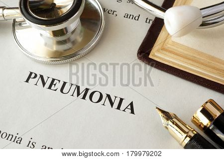 Document with word pneumonia in a hospital.
