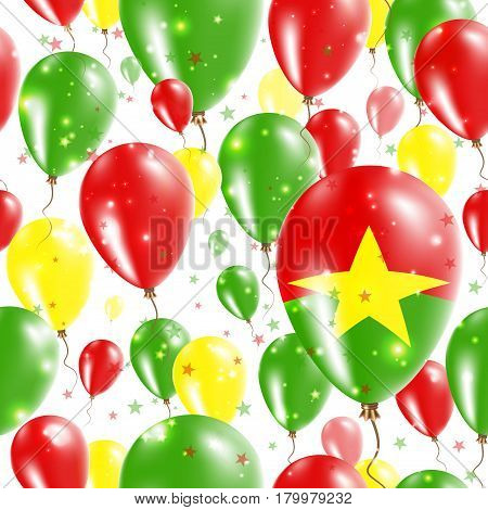 Burkina Faso Independence Day Seamless Pattern. Flying Rubber Balloons In Colors Of The Burkinabe Fl