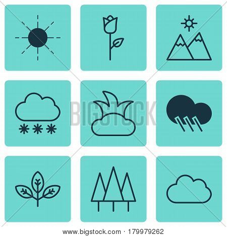 Set Of 9 World Icons. Includes Snowstorm, Love Flower, Forest And Other Symbols. Beautiful Design Elements.