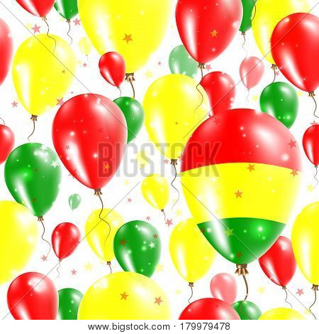 Bolivia Independence Day Seamless Pattern. Flying Rubber Balloons In Colors Of The Bolivian Flag. Ha